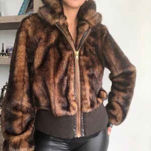 ZARA Faux fur brown short jacket coat